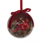 Бордовый шар с изображением птицы. Диаметр 8см